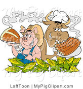 Swine Clipart of a Pink Chef Pig and Cow Standing Back to Back Behind Corn, Holding up Steak and Bbq Ribs by LaffToon