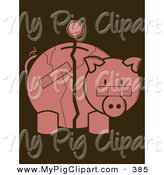 Swine Clipart of a Pink Coin over a Cracked and Bandaged Piggy Bank by Randomway