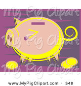 Swine Clipart of a Pink Coin Piggy Bank Looking Left on a Purple Background by Prawny