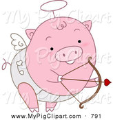 November 1st, 2015: Swine Clipart of a Pink Cupid Pig Shooting Arrows by BNP Design Studio