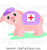 Swine Clipart of a Pink Medic Piglet Wearing a Cross Blanket and a Hat by Bpearth