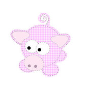 Swine Clipart of a Pink Patchwork Piggy Looking Left by Mheld