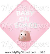 Swine Clipart of a Pink Pig Baby on a Pink Board Sign by Kheng Guan Toh