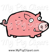 Swine Clipart of a Pink Pig by Lineartestpilot