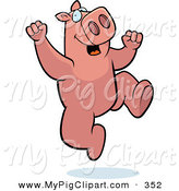 Swine Clipart of a Pink Pig Character Jumping up and down by Cory Thoman