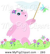 Swine Clipart of a Pink Pig Chasing Butterflies with a Net by