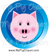Swine Clipart of a Pink Pig Face on a Round Blue Icon by Lal Perera