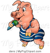 Swine Clipart of a Pink Pig in Clothes, Dancing and Rapping with a Microphone by Dero