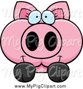 Swine Clipart of a Pink Pig Looking over a Surface by Cory Thoman