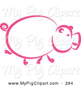 Swine Clipart of a Pink Pig Profile Walking Right by Prawny