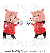 Swine Clipart of a Pink Pig Shown in Two Poses, Reading with a Happy and Grumpy Expression by Monica