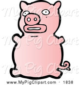 Swine Clipart of a Pink Pig Sitting by Lineartestpilot