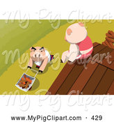 Swine Clipart of a Pink Pig Sitting on a Roof, Looking down at Another Pushing Bricks in a Wheelbarrow by Mayawizard101