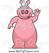Swine Clipart of a Pink Pig Standing and Waving by Cory Thoman
