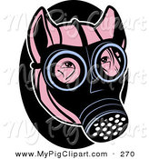 Swine Clipart of a Pink Pig Wearing a Black Gas Mask on His Face by R Formidable