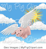 Swine Clipart of a Pink Pig with White Wings Flying Through the Sky on a Sunny Day, when Pigs Fly by AtStockIllustration