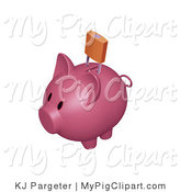 Swine Clipart of a Pink Piggy Bank with a Golden Padlock over the Slot, Preventign Money from Entering by KJ Pargeter