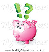 Swine Clipart of a Pink Piggy Bank with a Question Mark and Exclamation Point Overhead by Beboy