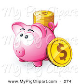 Swine Clipart of a Pink Piggy Bank with a Stack of Gold Dollar Coins by Beboy