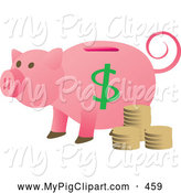 Swine Clipart of a Pink Piggy Bank with Coins and a Curly Tail Looking Left by Rasmussen Images