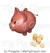Swine Clipart of a Pink Piggy Bank with Stacks of Golden Coins, One Coin Going into the Slot by KJ Pargeter