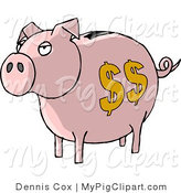 Swine Clipart of a Pink Piggy Bank with Yellow Dollar Signs by Djart