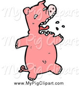 Swine Clipart of a Pink Piggy Burping by Lineartestpilot