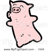 Swine Clipart of a Pink Piggy Puckered up by Lineartestpilot