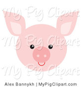 Swine Clipart of a Pink Piglet Face by Alex Bannykh