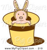 Swine Clipart of a Pink Piglet Wearing Bunny Ears, Popping out of a Magicians Hat by Cherie Reve