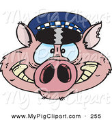 Swine Clipart of a Pink Police Cop Pig Face by Dennis Holmes Designs