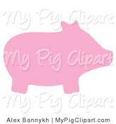 Swine Clipart of a Pink Silhouetted Pig Facing Right by Alex Bannykh