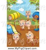 Swine Clipart of a Playground of Pigs by Colematt
