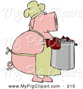 Swine Clipart of a Plump Pink Pig Chef in a Hat and Apron, Carrying a Pot of Beans by Djart