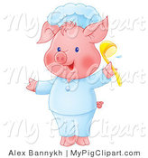 Swine Clipart of a Plump Pink Pig in Chef's Clothing, Holding up a Ladle by Alex Bannykh