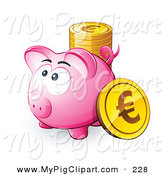 Swine Clipart of a Plump Pink Piggy Bank with a Stack of Euro Coins by Beboy