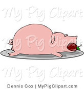 Swine Clipart of a Plump Roasted Pink Pig with an Apple in Its Mouth, Served on a Platter by Djart