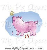 June 3rd, 2013: Swine Clipart of a Poor Drooling Piggy Bank Looking up at a Suspended Coin Overhead by Mayawizard101