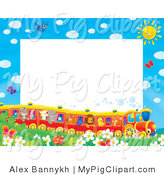 Swine Clipart of a Pretty Stationery Border or Frame of Birds, Butterflies, Bugs, and Flowers Watching a Train of Animals on a Sunny Day by Alex Bannykh