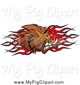 Swine Clipart of a Profiled Boar Pig and Flames by Vector Tradition SM