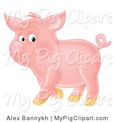 Swine Clipart of a Proud, Curly Tailed Pink Piglet, Standing in Profile by Alex Bannykh