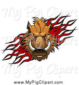 Swine Clipart of a Razorback Boar Pig over Flames by Vector Tradition SM