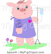 Swine Clipart of a Recovering Pink Pig in a Hospital Gown, Walking with an IV Dispenser by Bpearth