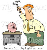 Swine Clipart of a Red Haired Caucasian Businessman Holding a Hammer High Above a Piggy Bank on a Table, Prepared to Smash the Bank and Take the Money out of Savings by Djart