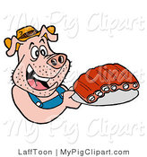 Swine Clipart of a Redneck Pig in Overalls, Eating Ribs by LaffToon