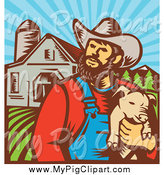 Swine Clipart of a Retro Woodcut Pig Farmer Holding a Piglet Against a Farm by Patrimonio
