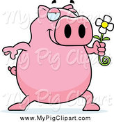 Swine Clipart of a Romantic Pig Holding a Daisy Flower by Cory Thoman