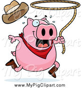 Swine Clipart of a Running Rodeo Pig Swinging a Lasso by Cory Thoman