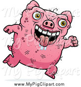 Swine Clipart of a Running Ugly Drooling Pig by Cory Thoman