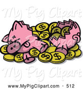 Swine Clipart of a Sad Crushed Piggy Bank with Dollar Coins Spilling out by Zooco